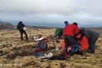 Pause in 500 m Höhe. Zelt aufschlagen ist dort heute nicht mehr erlaubt.